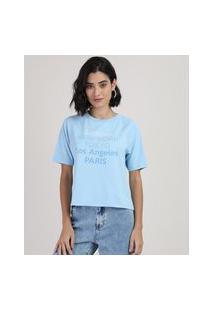 Blusa Feminina Cidades Manga Curta Decote Redondo Azul Claro