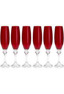 Jogo 6 Taças De Cristal Ecológico Para Champagne Bohemia Elisa 220Ml Rubi