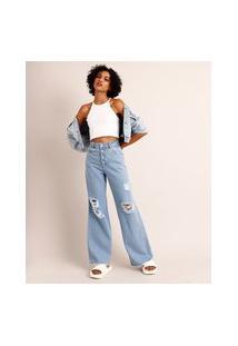 Calça Wide Pantalona Jeans Destroyed Com Botão Encapado Cintura Super Alta Sawary Azul Claro