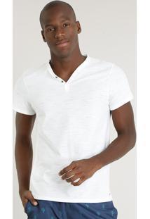 Camiseta Masculina Slim Fit Com Botões Manga Curta Gola V Off White