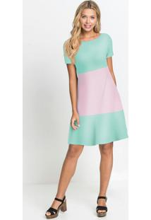 Vestido Básico Soltinho Lilás/Verde Candy