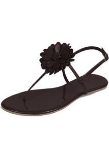 Rasteira Mercedita Shoes Flor Verniz Marrom
