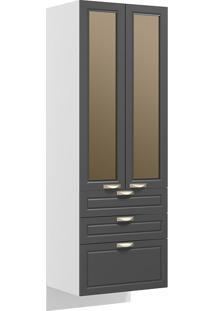 Paneleiro Suspenso 2 Portas Com Vidro Reflecta E 3 Gavetas Nevada 5628Svd-Multimóveis - Branco Premium / Grafite Premium
