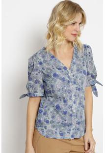 Blusa Floral Com Amarraã§Ã£O-Azul Claro & Roxa-Vip Resvip Reserva