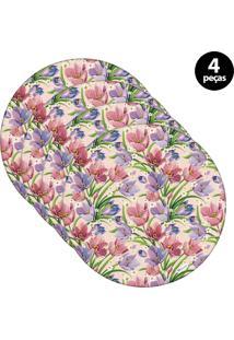 Sousplat Mdecore Floral 32X32Cm Rosa 4Pçs