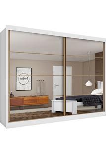 Guarda-Roupa Casal Sevilha 2 Portas Com Espelho E 6 Gavetas – Made Marcs - Branco Acetinado