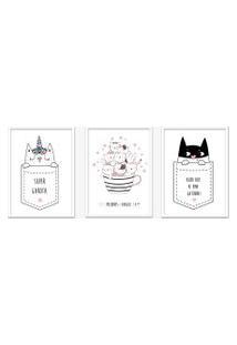 Quadro 30X60Cm Infantil Gatinhos Com Frases Moldura Branca Sem Vidro Decorativo