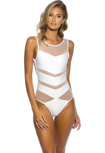 Body Kalini Beachwear Tule Exclusive Branco