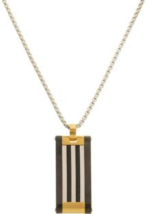 Pingente Placa Com Cabo Náutico Tudo Jóias De Aço Inox Modelo Gourmet Black Gold