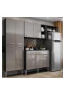 Cozinha Compacta C/ Armário E Balcão Com Tampo Pequim Multimóveis Preta/Lacca Fumê