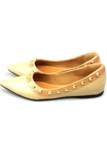 Sapatilha Love Shoes Bico Fino Valentino Spike Verniz Off White