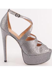 Sandália Meia Pata Em Couro Com Glitter- Prataluiza Barcelos