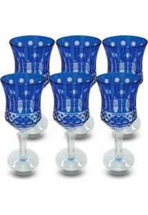 Conjunto De Taças Para Vinho Em Vidro Cristalino Lapidado 6 Peças Azul Escuro