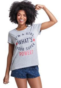 Pijama Short Doll Girl Power Feminino Adulto Luna Cuore