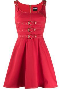 Versace Jeans Couture Vestido Jardineira Jeans Com Cinto - Vermelho