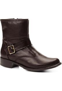 Bota Couro Cano Curto Shoestock Fivela Feminina - Feminino-Café