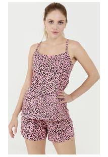 Pijama Feminino Estampa Animal Print Alças Finas Marisa