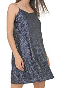 Vestido Enfim Curto Paetê Azul-Marinho