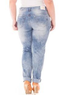Calça Confidencial Extra Plus Size Cintura Alta Jeans Feminina - Feminino-Azul Claro
