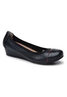 Sapato Anabela Cunho Preto Com Vivo Vermelho 805V-0100
