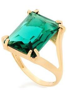 Anel Vazado Aro Duplo Com Cristal Rommanel - Feminino-Verde
