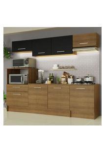Cozinha Completa Madesa Onix 240002 Com Armário E Balcáo - Rustic/Preto 5Z7K Marrom