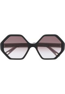 Chloé Eyewear Óculos De Sol Geométrico - Preto