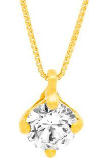 Pingente Solitário Ouro Amarelo E 50 Pontos De Diamantes