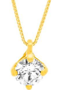 Pingente Solitário Ouro Amarelo E Diamante De 50 Pontos