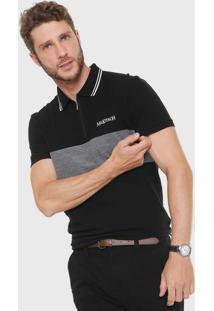Camisa Polo Mr Kitsch Reta Zíper Preta