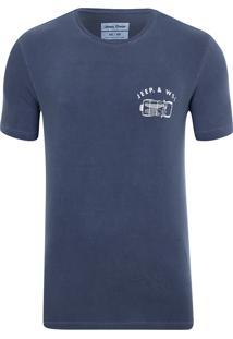 Camiseta Especial Jeep E Wsl Wrangler Trip Lavada Azul Marinho