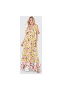Vestido Lança Perfume Longo Floral Amarelo