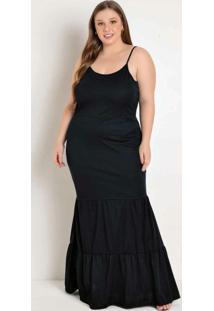 Vestido Longo Preto Com Alças Plus Size