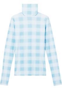 Proenza Schouler White Label Blusa Gola Alta De Tricô Xadrez - Azul