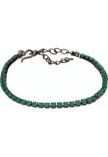 Pulseira Riviera Fina The Ring Boutique Pedras Cristais Verde Esmeralda Ródio Negro