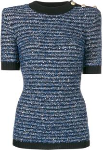 Balmain Blusa De Tricô Listrada - Azul