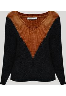 Suéter De Tricô Chenille Feminino Geométrico Decote V Preto