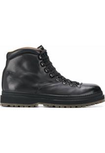 Henderson Baracco Ankle Boot Com Cadarço - Preto