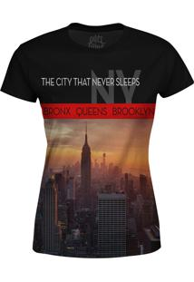 Camiseta Estampada Baby Look Over Fame New York Preto