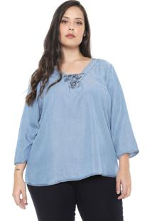 Blusa Jeans Cativa Plus Lace Up Azul