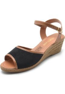 Sandália Dafiti Shoes Camurça Preta/Caramelo