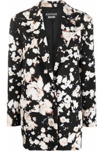 Boutique Moschino Blazer Oversized Com Estampa Floral - Preto