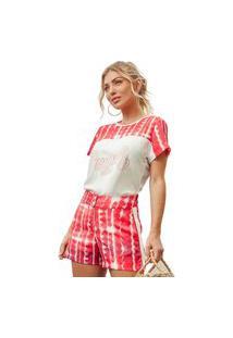 Camiseta Fashion4You Manga Curta Estampada Vermelha
