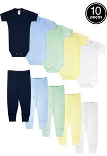 Kit 10Pçs Body Culote Zupt Baby Enxoval Azul-Marinho/Azul/Verde