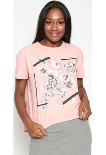 Blusa Floral Com Inscriã§Ãµes- Rosa Claro & Cinza- Tritriton