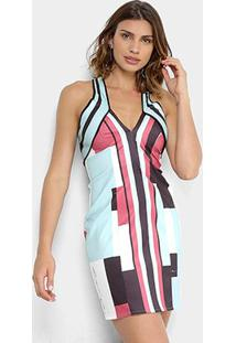 Vestido Lança Perfume Tubinho Curto Com Alça Estampado - Feminino-Azul+Rosa