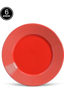 Conjunto 6Pçs Pratos Rasos Porto Brasil Argos Vermelho