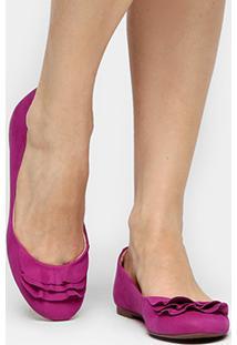 Sapatilha Couro Shoestock Babados Feminina - Feminino-Pink