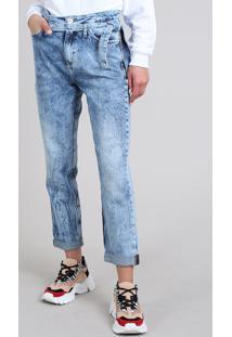 Calça Jeans Feminina Mom Com Faixa Para Amarrar Azul Claro