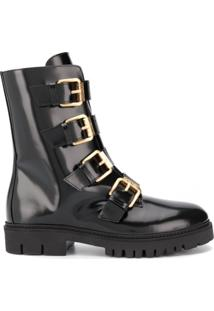 Moschino Buckled Ankle Boots - Preto